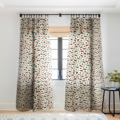 Alisa Galitsyna Dots And Flowers Single Panel Sheer Window Curtain - Society6