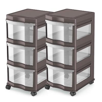 Life Story Classic 3 Shelf Storage Organizer Plastic Drawers, Gray (2 Pack)
