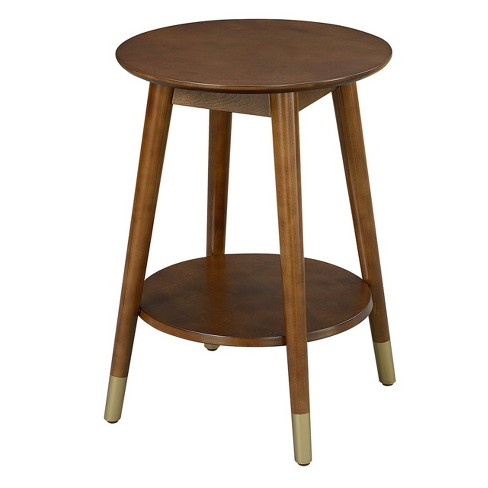 Wilson Mid Century Round End Table With Bottom Shelf Espresso Johar Furniture