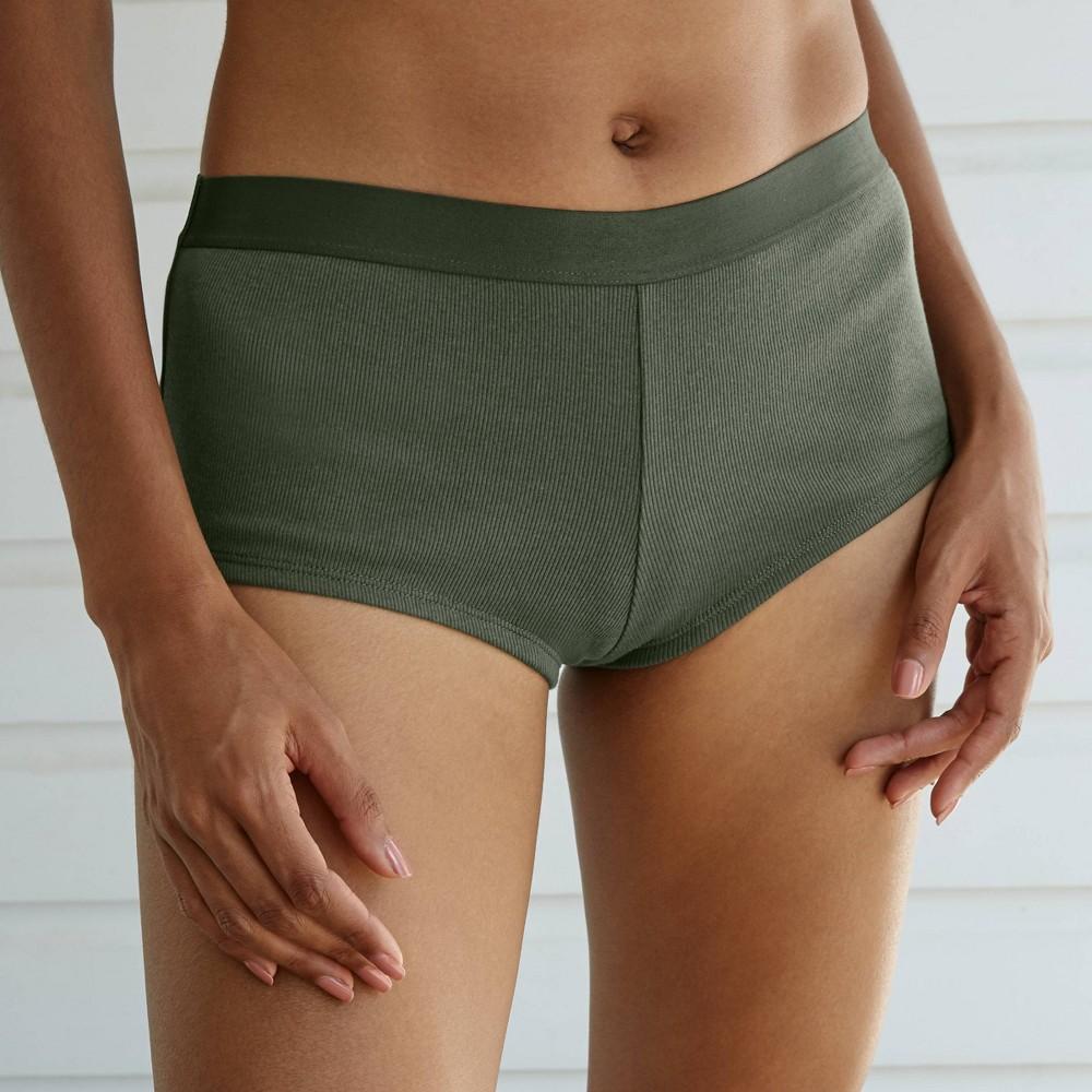 Women 39 S Cotton Rib Knit Boyshorts Auden 8482 Olive Xs