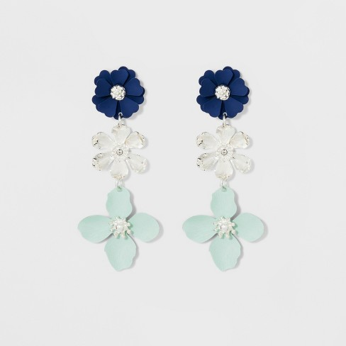 Three Flowers Earrings - A New Day™ Blue/Silver - image 1 of 3