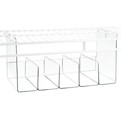 mDesign Plastic Closet Storage Organizer Tray, Hangs Below Shelving - Clear