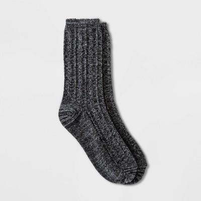 Warm Essentials by Cuddl Duds Women's Spacedye Ribbed Pebble Stitch Crew Socks - Black 4-10