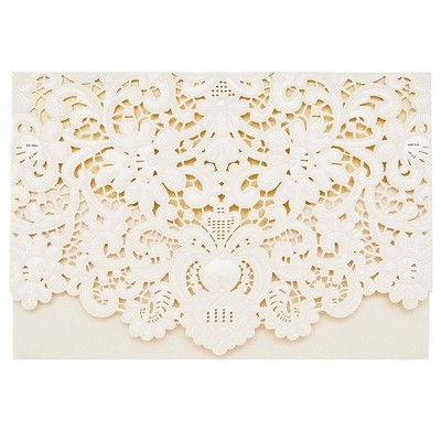 Sustainable Greetings 24-Pack Laser Cut Pink Lace Invitations Cards with Envelopes for Wedding Bridal Shower, 7x5 in