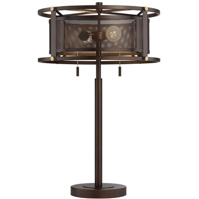 Franklin Iron Works Industrial Table Lamp Bronze Metal Mesh Drum Shade for Living Room Family Bedroom Bedside Nightstand Office