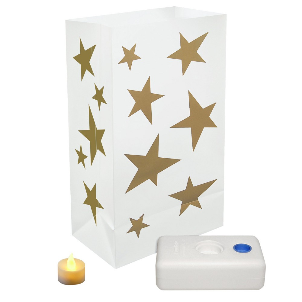 12ct Battery Operated Stars Led Luminaria Kit, White/Gold