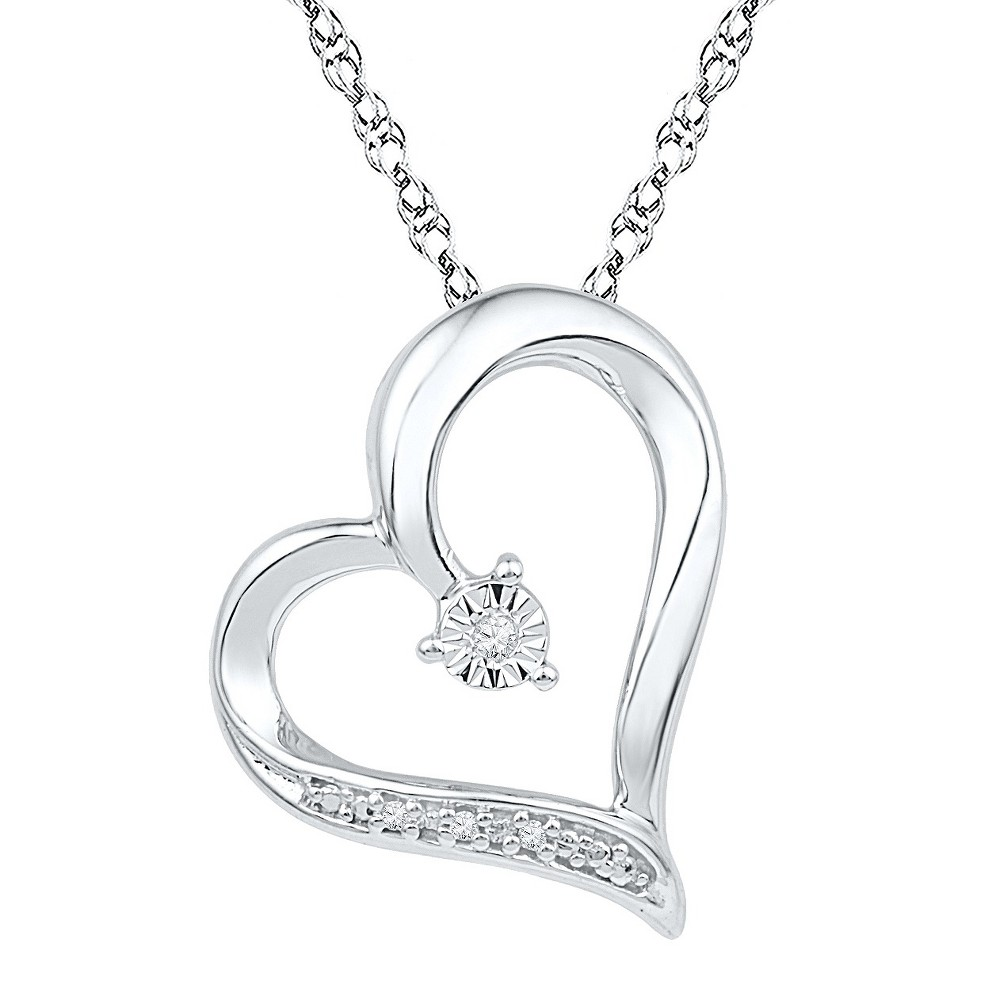 "Image of ""0.01 CT. T.W Round Diamond Prong and Miracle Set Heart Pendant in Sterling Silver (IJ-I2-I3) (18""""), Women's, White"""