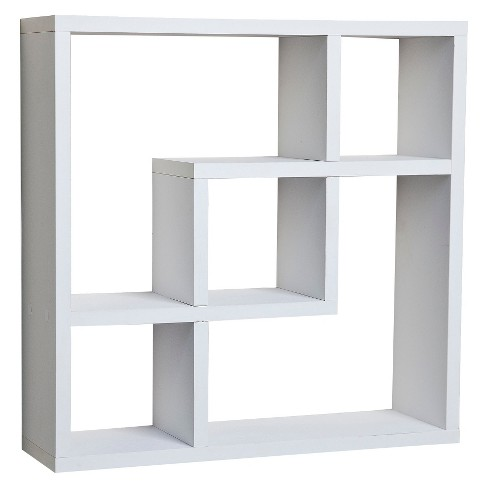 Miraculous 17 7 X 17 7 Geometric Square Wall Shelf White Danya B Home Interior And Landscaping Eliaenasavecom