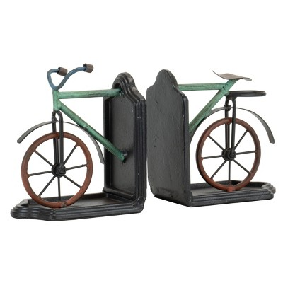 Multicolor Set of 2 Metal Bicycle Bookends - Foreside Home & Garden