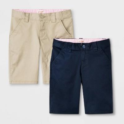 Girls' 2pk Flat Front Stretch Uniform Shorts - Cat & Jack™ Khaki