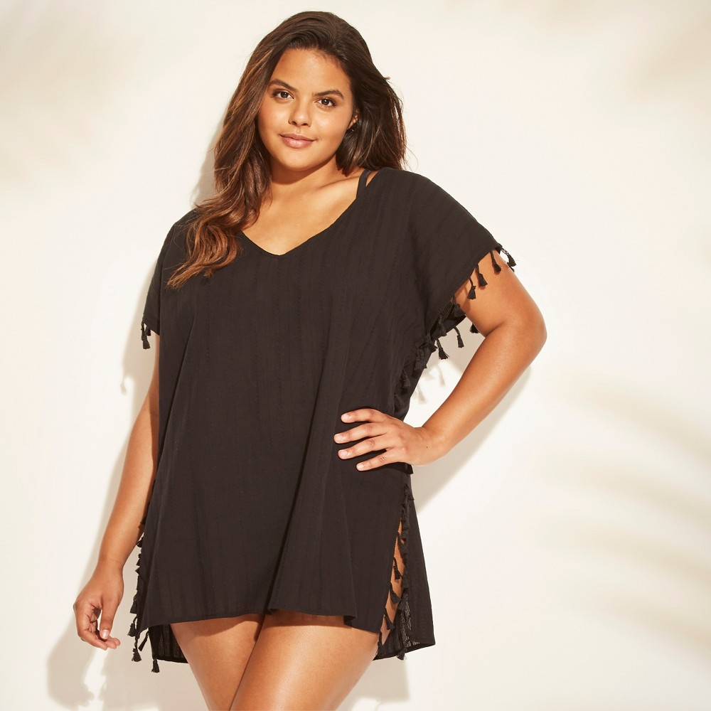 Women's Plus Size Tassel Trim Poncho Cover Up - Cover 2 Cover Black 3X