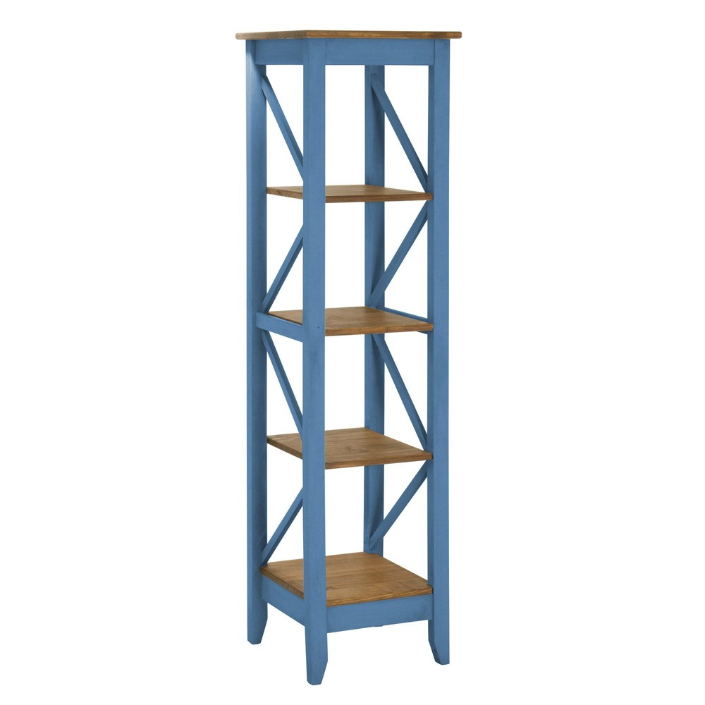 18.5 Jay Solid Wood Bookcase with 4 Shelves Wash Blue - Manhattan Comfort