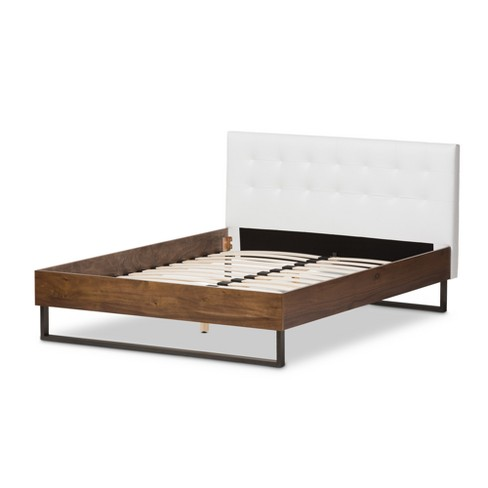 5462fce3a8faa Mitchell Rustic Industrial Walnut Wood And Faux Leather Metal Platform Bed  - Queen - White - Baxton Studio   Target