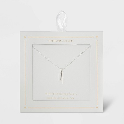 Sterling Silver Double Bar Cubic Zirconia Necklace - Silver