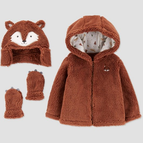 Baby Boys' Sherpa Faux Fur Jacket Set - Just One You® made by carter's Brown - image 1 of 1