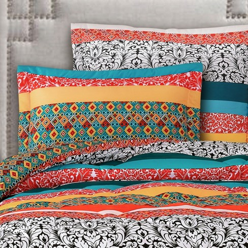 5pc Twin XL Boho Stripe Comforter Set Turquoise/Tangerine - Lush Decor - image 1 of 4