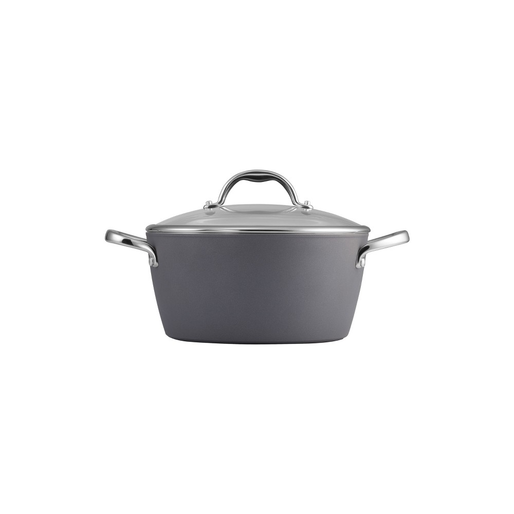 Tramontina Gourmet 5qt Nonstick Aluminum Dutch Oven with Lid Gray Tramontina Gourmet Slate Gray cookware is a versatile option for cooking enthusiasts, as they will thrill at its precision cold-forged heavy-gauge aluminum alloy with an impact-bonded, induction-ready bottom suitable for all cooktops. The exterior is made of a convenient nonstick finish with a striking slate gray color while the interior is a Pfoa-free reinforced nonstick coating, which provides effortless cleaning. Part of the Tramontina Gourmet collection, which features premium products engineered and manufactured with the finest design, materials and workmanship. Dishwasher-safe; Oven Safe up to up to 350°F/ 176°C. Made in Italy, assembled and packaged in the USA. Lifetime warranty.
