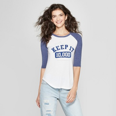 Women's 3/4 Sleeve Keep It 10,000 Raglan Graphic T Shirt   Awake White/Navy by Awake