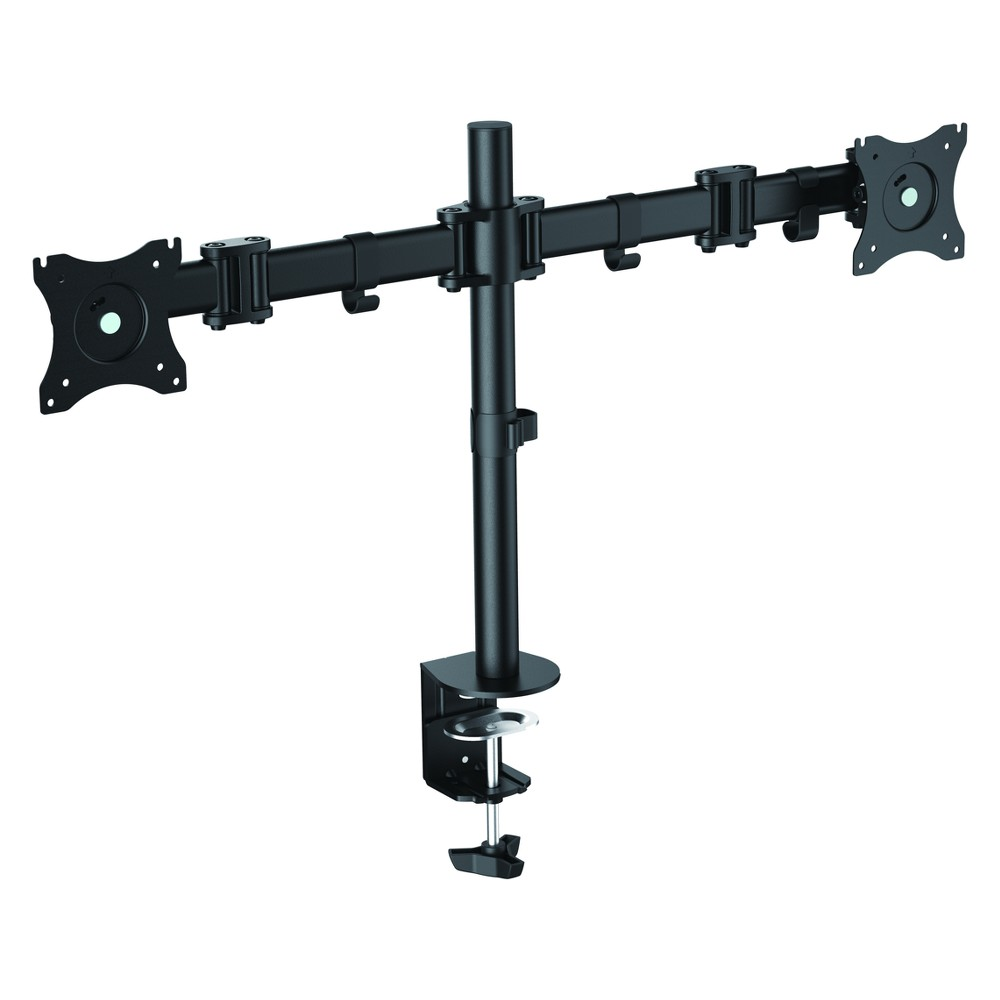 Image of Double Articulated Dual Monitor Desk Mount, Black