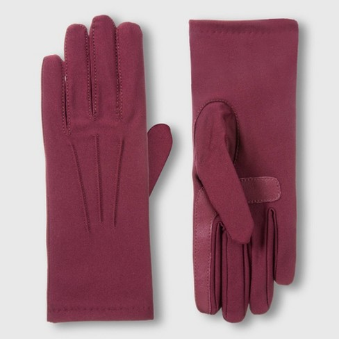 Isotoner Women's SmartDri Spandex Glove with 3 Draws and SmarTouch Technology - Plum One Size - image 1 of 2