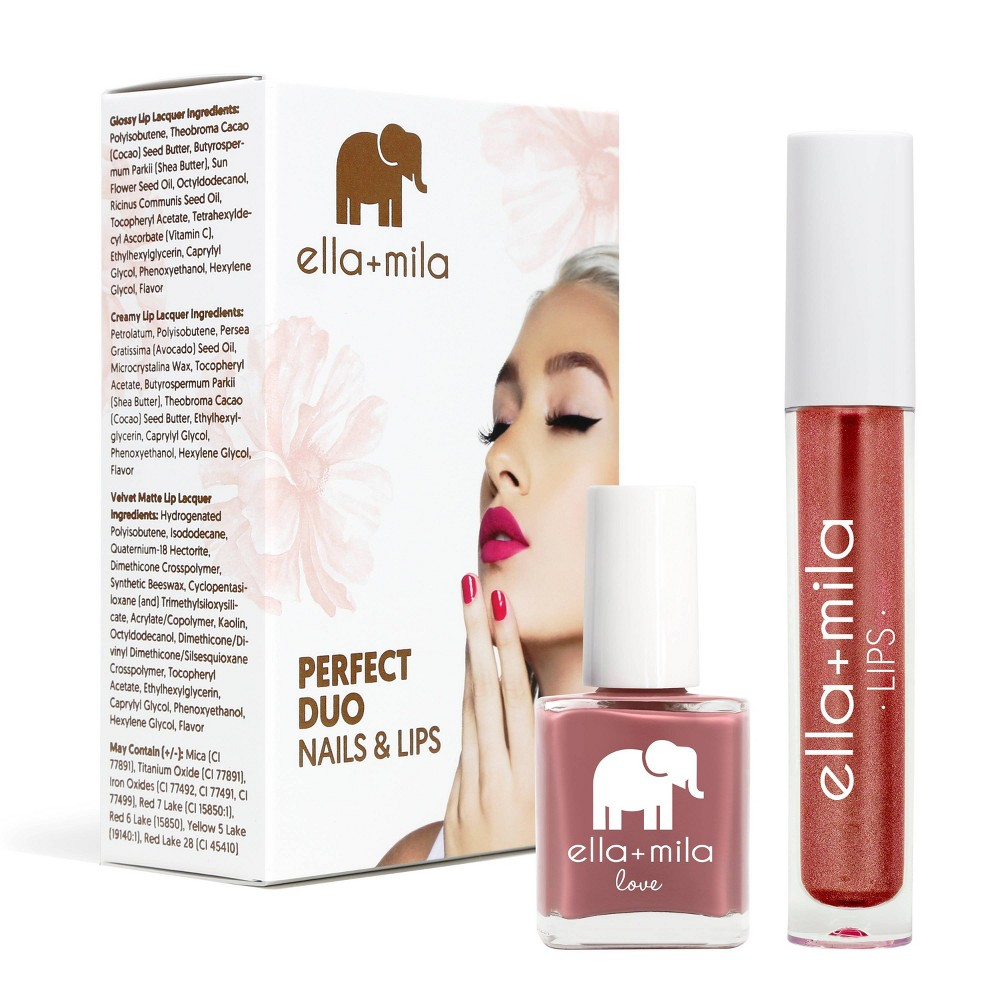 Image of ella+mila Perfect Duo Lip Lacquer & Nail Polish Set Unwrap Me + You Red My Mind - 0.59 fl oz