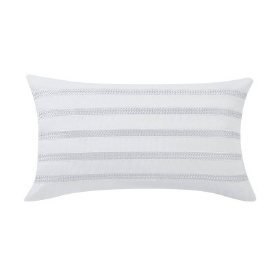 22x14 Bedford Braided Embrodered Rectangle Throw Pillow White/Gray - Charisma