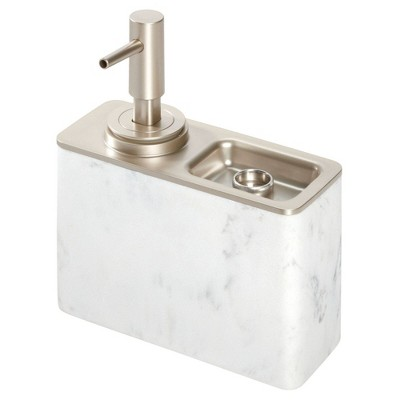 Dakota Soap Pump with Ring Tray White - iDESIGN
