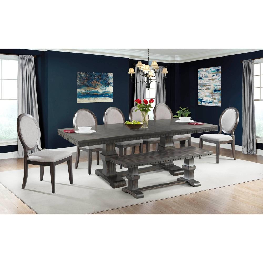 8pc Steele Dining Set Table, 6 Round Fabric Chairs & Bench Smokey Walnut - Picket House Furnishings