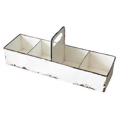 6.5 x5 x16.5  Metal Slotted Enamel Tray White - Foreside Home & Garden