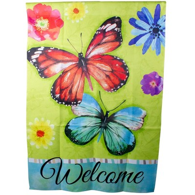 "Northlight Welcome Butterflies Green Outdoor House Flag 28"" x 40"""