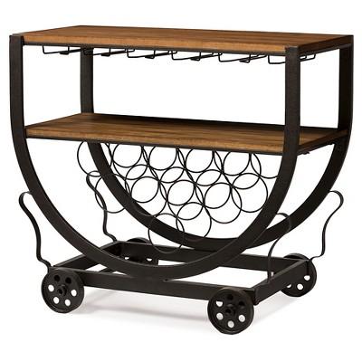 Triesta Antiqued Vintage Industrial Metal & Wood Wheeled Wine Rack Cart - Baxton Studio
