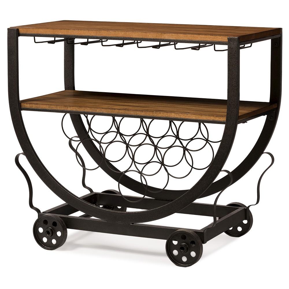 Triesta Antiqued Vintage Industrial Metal & Wood Wheeled Wine Rack Cart - Baxton Studio, Brown