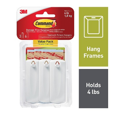 Command Sawtooth Picture Hanger White 3 Hangers (17042-ES) 683214