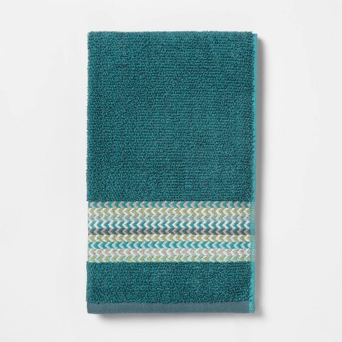 Geometric Towel Green - Threshold™ - image 1 of 4