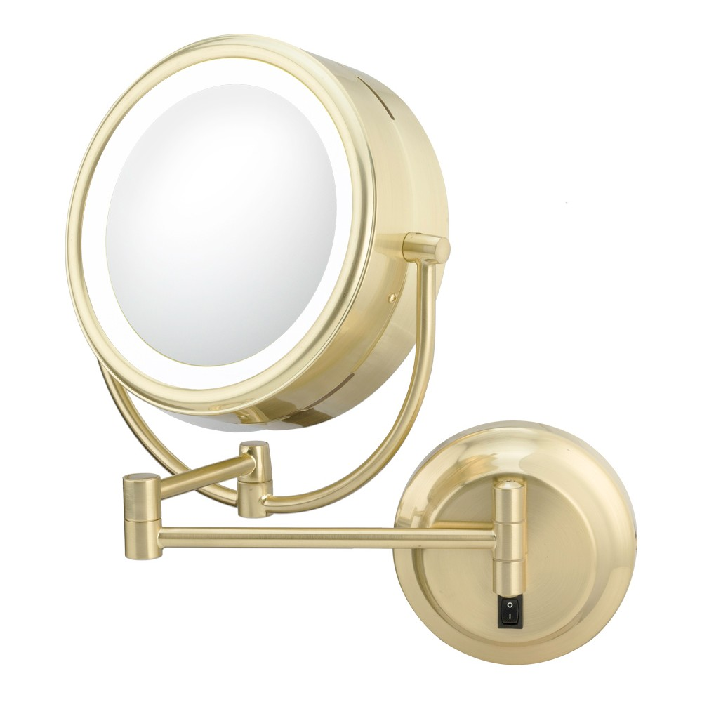 Modern Double-Sided Led Lighted Hardwired Wall Magnified Makeup Mirror Brushed Brass - Aptations, Antique Brass