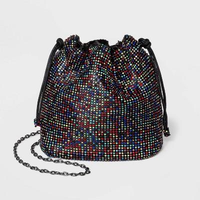 Estee & Lilly Multi Crystal Drawstring Closure Bucket Bag