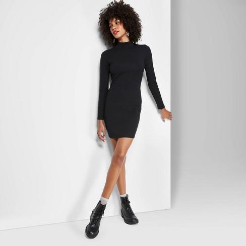 Women\'s Plus Size Long Sleeve Mock Turtleneck Knit Dress - Wild Fable™ Black