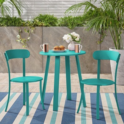 Barbados 3pc Patio Bistro Set - Matte Teal - Christopher Knight Home