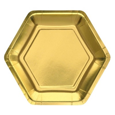 "7"" 20ct Foil Snack Paper Plates Gold - Spritz™"