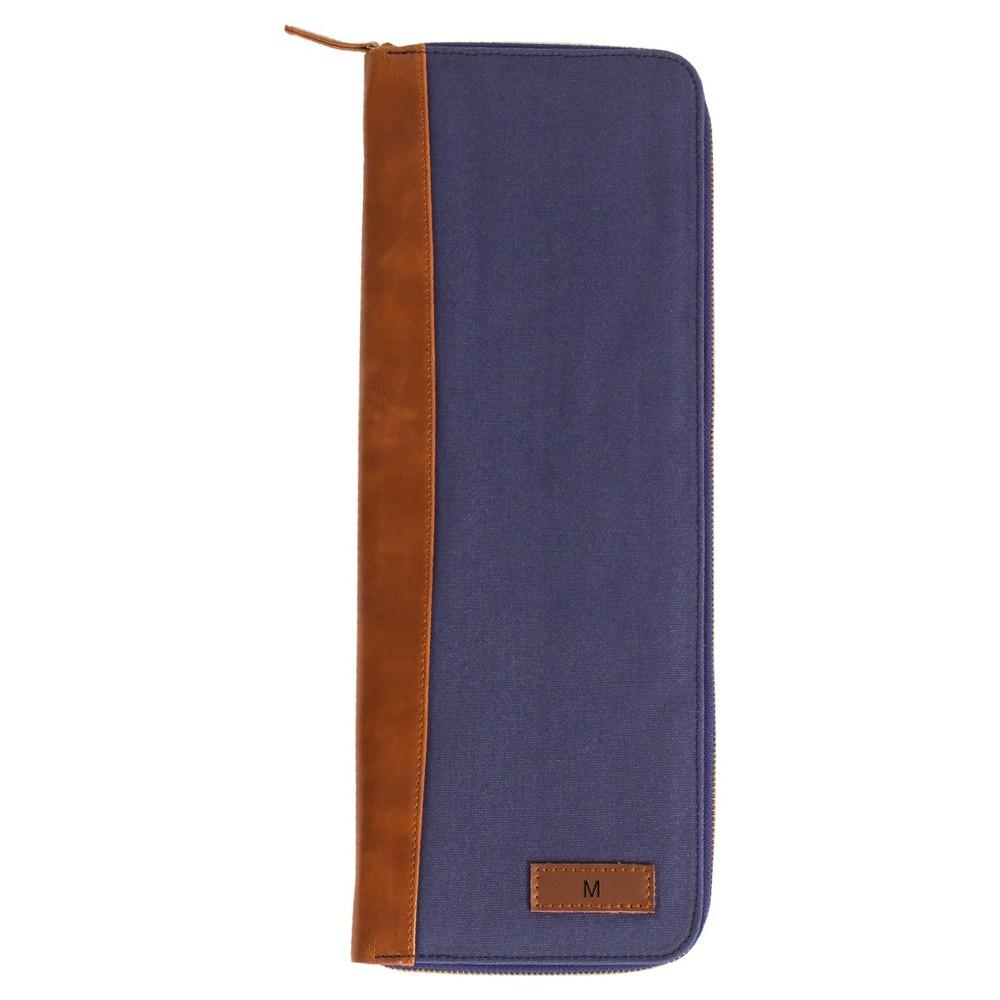 Monogram Groomsmen Gift Travel Tie Case Jewelry Box - M, Blue Brown