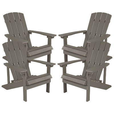Flash Furniture Set of 4 Charlestown All-Weather Poly Resin Wood Adirondack Chairs