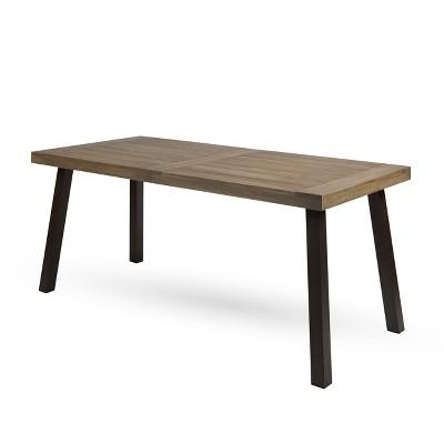 Della Rectangle Acacia Dining Table - Gray - Christopher Knight Home