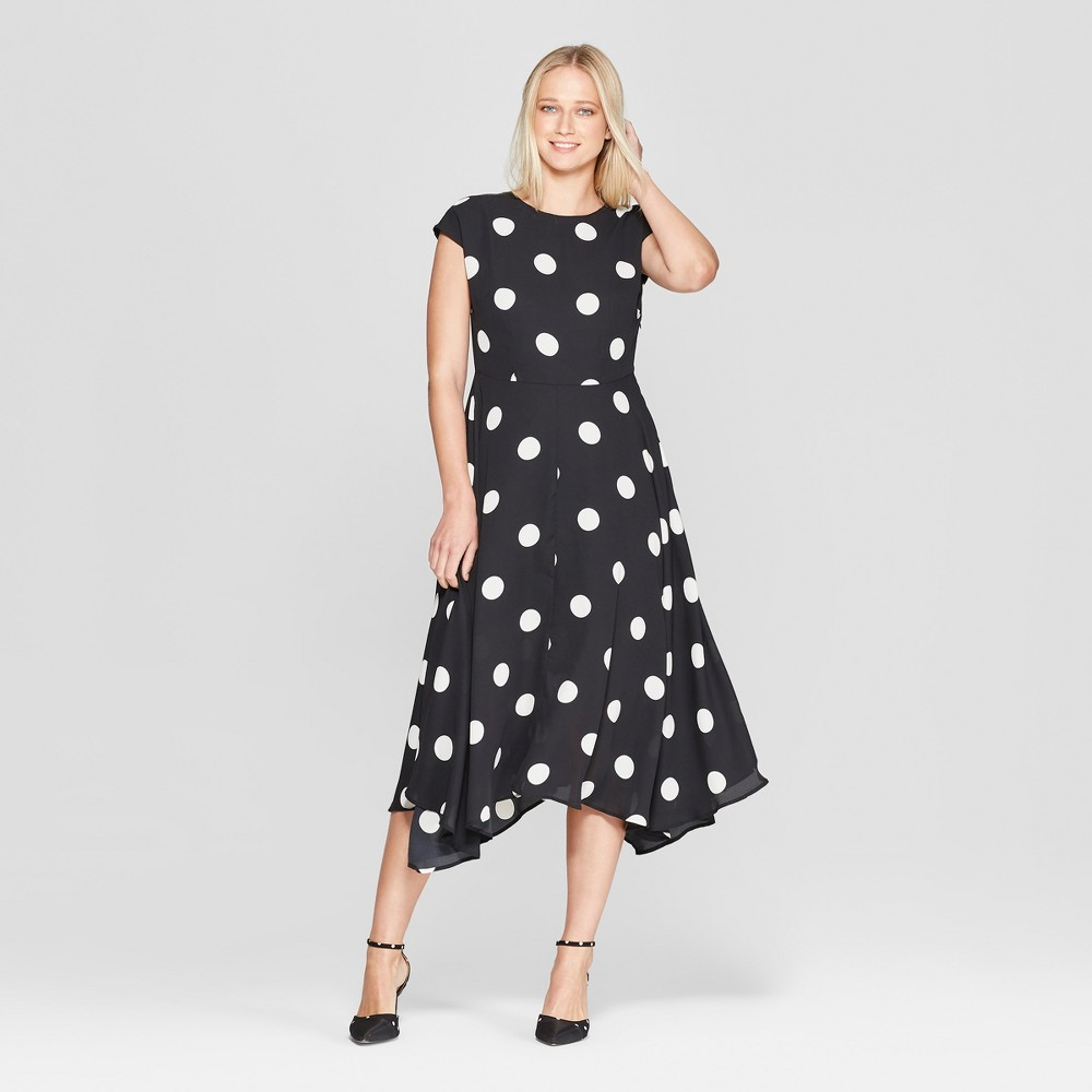 Women's Polka Dot Cap Sleeve Asymmetric Hem Midi Dress - Who What Wear Black/White XS