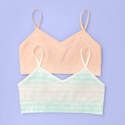 Girls' 2pk Tie-Dye Long Line Seamless Bra - More Than Magic™ Pink/Green