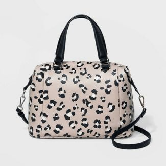 Small Pleated Satchel Handbag - A New Day™ Leopard Print