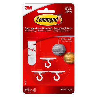 Command™ Ceiling Hooks, 3/pk