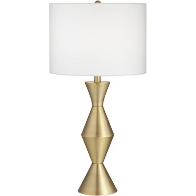 360 Lighting Mid Century Modern Table Lamp Brass Gold Metal White Drum Living Room Bedroom House Bedside Nightstand Home Office
