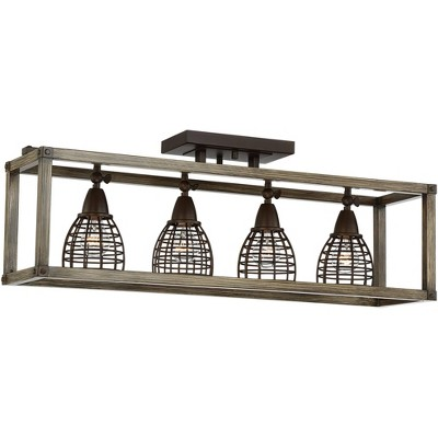Pro Track Verdorn 4-Light Oiled Bronze with Wood Cage Track Fixture