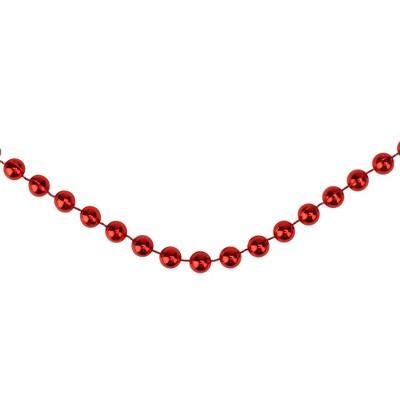 "Northlight 15' x 0.25"" Shiny Crimson Red Beaded Artificial Christmas Garland - Unlit"