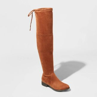 Women's Sidney Microsuede Over the Knee Boots - A New Day™ Cognac 8